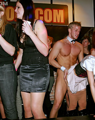 Wild and crazy drunken partiers having sex in a public bar