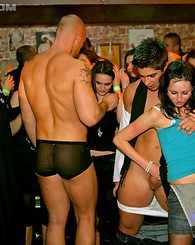 Horny sex screwing party with hot willing girls at a bar