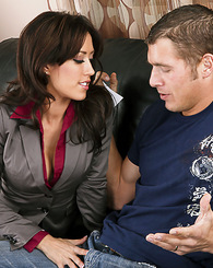 Sexy brunette in stockings fucks a married man