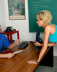 Victoria White sucks and fucks her professor so she can pass his class.