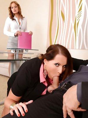 Two Secretaries & Boss in Hardcore Threesome